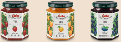 Picture of D'Arbo three-jar preserves bundle: Gartenerdbeere, Marille & Wildheidelbeere