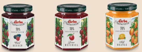 Picture of D'Arbo three-jar preserves bundle: Süßorange, Waldbeere & Weichsel