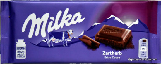 Picture of Milka Zartherb (Extra Cocoa) 100g chocolate bars (1 bar)