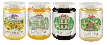 Picture of D'Arbo four-jar honey bundle: Sonnenblumenhonig, Waldhonig, Lindenhonig & Akazienhonig