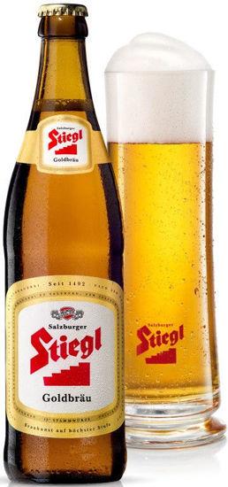 Picture of Stiegl Goldbräu Bier - the Original Stiegl Beer - 12 x 500ml Glass Bottles